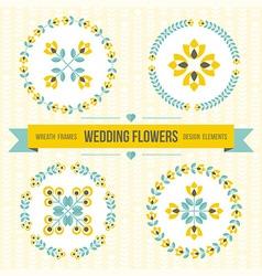 Wedding design elements - frames and flowers vector image