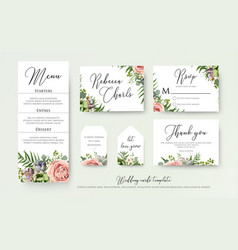 Wedding floral invite thank you rsvp label cards vector