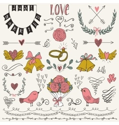 Wedding graphic set arrows hearts birds bells vector image