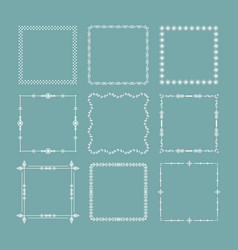 white christmas square frames and borders emblem vector image