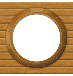 Window porthole in a wooden wall vector image
