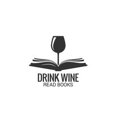 wine glass with book concept drink wine read book vector image
