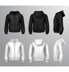 Black and white male hooded sweatshirts vector