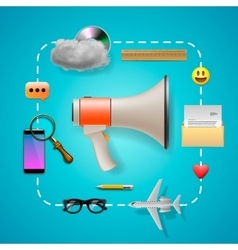 Digital marketing speaker and icons vector