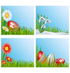 Easter corner decoration set vector image vector image