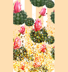 Pink cactus abstract pattern sparkling background vector