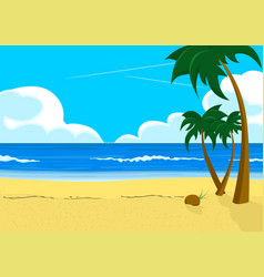 scenery with tropical beach and palm trees vector image