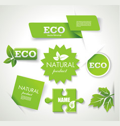 set of eco green natural badges labels banners vector image