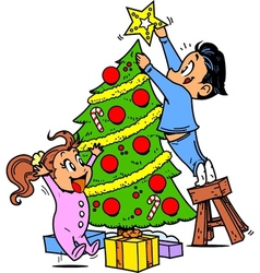 Trimming the Christmas Tree vector image vector image