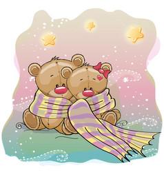two cute bears vector image