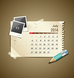 Calendar July 2014 vector image vector image