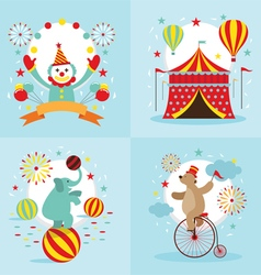 Circus Tent Clown Elephant Bear Show vector image vector image