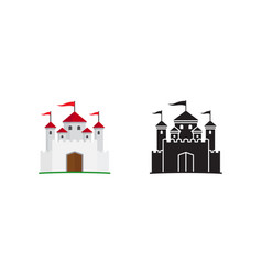 medieval kingdom icon and silhouette vector image