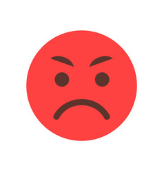 Red angry cartoon face emoji people emotion icon vector
