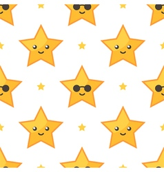 Smiling stars seamless pattern background vector image vector image
