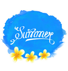 typographic text summer label with frangipani vector image