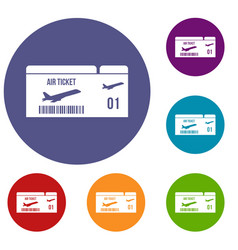 airline boarding pass icons set vector image vector image