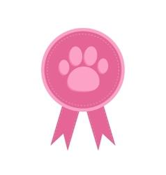 Badge with dog cat paw print and ribbons Award vector image