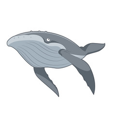 cartoon swimming whale vector image
