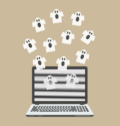 Ghosts fly out of the laptop screen vector