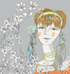 girl and flowers vector image