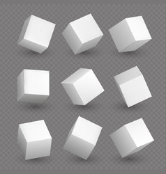 isolated 3d cubics white cubes or box shapes with vector image vector image