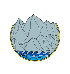 rugged mountain range waves circle monoline vector image vector image
