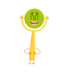 cute and funny baby rattle toy character with vector image vector image