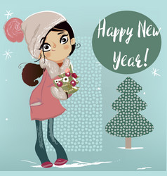 cute winter girl with christmas tree vector image vector image