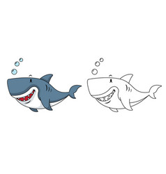 educational coloring book-shark vector image vector image