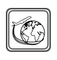 figure emblem planet earth with a plane close up vector image