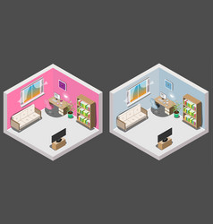 isometric interior of room boy and girl vector image