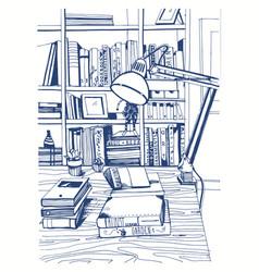 modern interior home library bookshelves hand vector image vector image