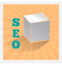 Paper origami cube on orange SEO icon with shadow vector image vector image