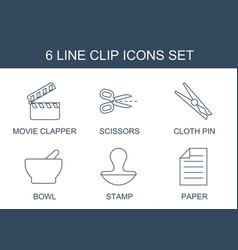 6 clip icons vector