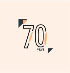 70 years anniversary retro line template design vector