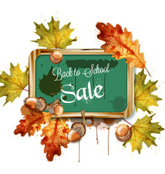 back to school sale chalk board and autumn leaves vector image