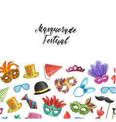 background with masks and party accessories vector image