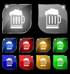 Beer glass icon sign Set of ten colorful buttons vector image