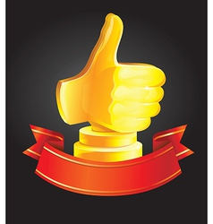 best choice award - golden hand vector image