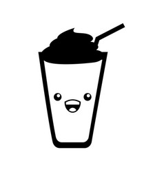 Beverage glass kawaii character vector