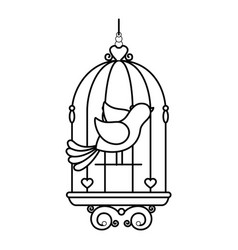 birdcage with cute dove icon vector image