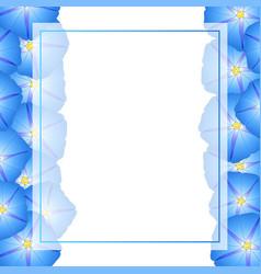 Blue morning glory flower banner card border vector
