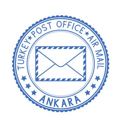 Blue postal stamp ankara turkey vector