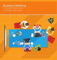 business meeting top view office teamwork flat vector image