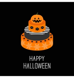 Cake with pumpkin spider and web Happy Halloween vector image