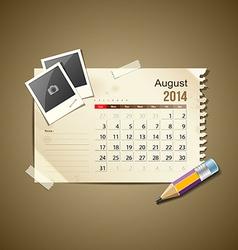 Calendar August 2014 vector image