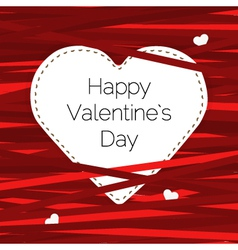 Card Valentine Day with heart and ribbons vector
