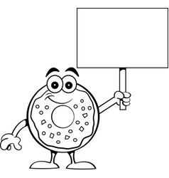 Cartoon happy donut holding a sign vector