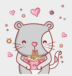 Cat and japan food kawaii vector